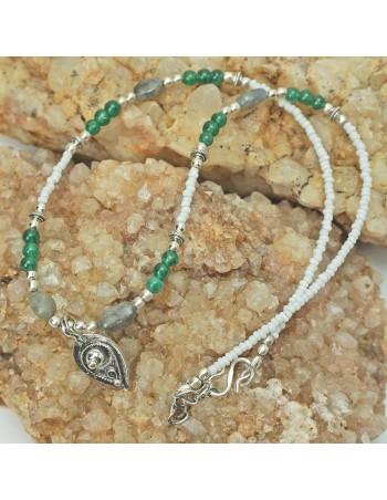 Collar de piedra natural, con cuarzo ahumado y jade. ref: CO14456 - Joyería Étnica.