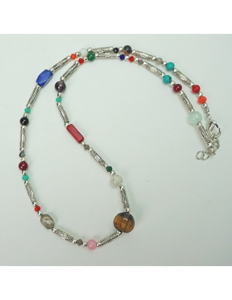 Collar con piedra natural multicolor. ref: CO14458