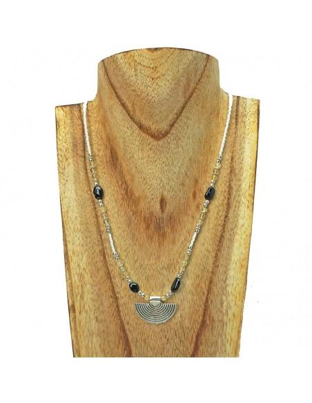Collar étnico con piedra natural. ref: CO14459 - Joyería Étnica.