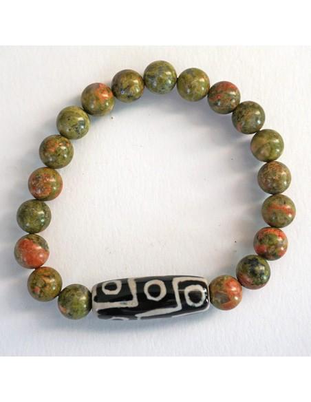 Pulsera de piedra natural con DZI tibetano. ref: ZE14482