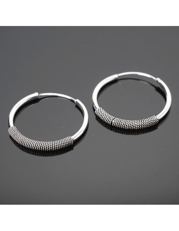 Aros de plata hippies 20mm - Joyería étnica.