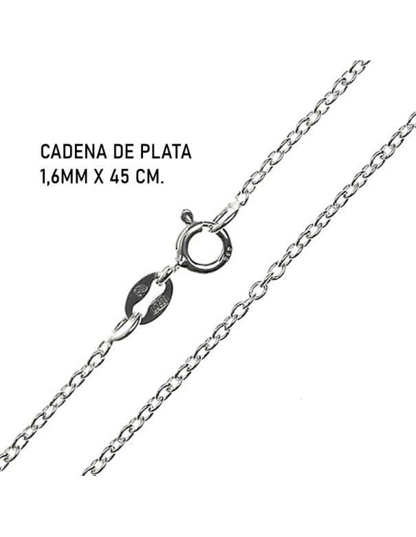 cadena de plata 1,6mm x 45 cm.