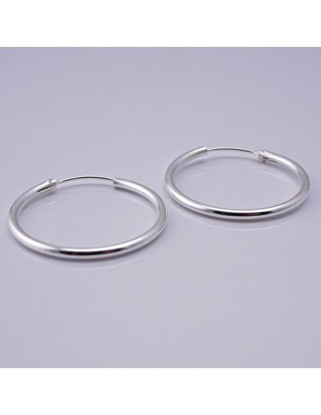 Aros de plata lisos 35mm . Aros de plata Bali.