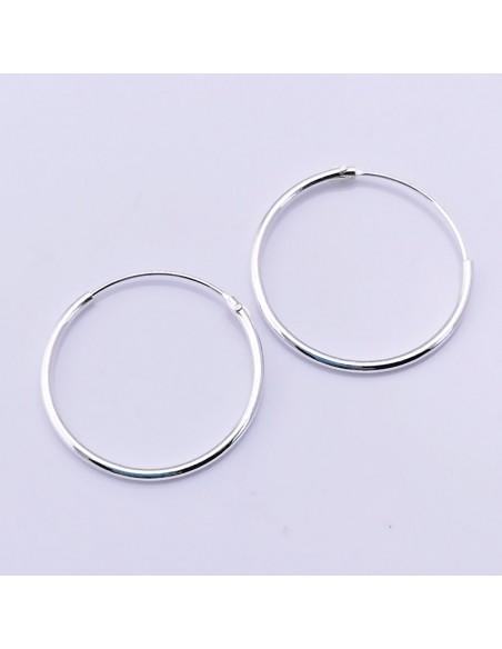 Aros de plata lisos 20mm-Pendientes de plata.