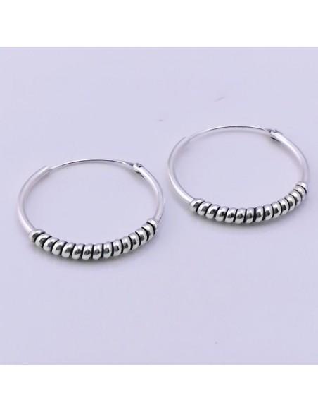 Aros de plata Bali 20mm-Pendientes de plata.