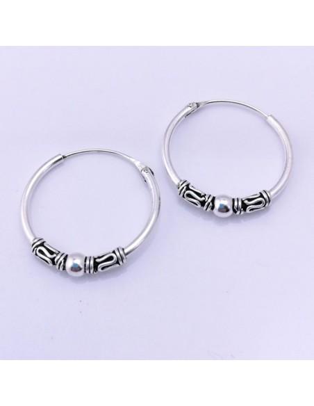 Aros de plata Bali 18mm-Piercing de plata.