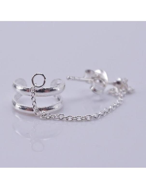 Piercing 9mm con ear cuffs de plata. Joyas de plata.
