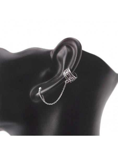 Piercing Bali 10mm con ear cuffs de plata. Joyería étnica.