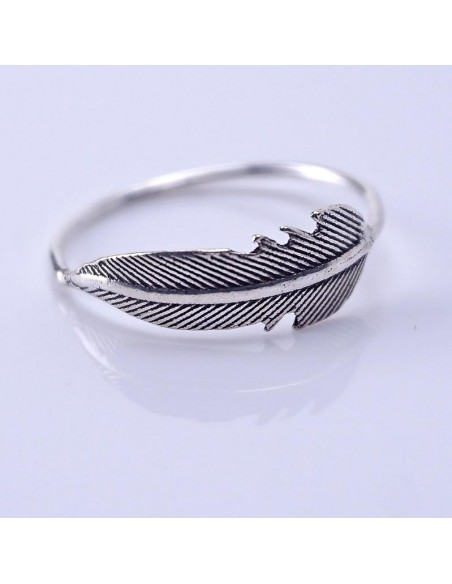 Anillos de plata diseño pluma.