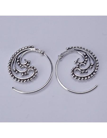 Pendientes de plata espiral-Joyería étnica.