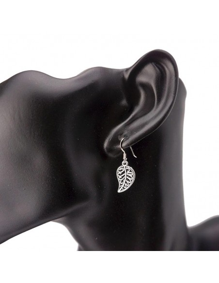 Pendientes de plata diseño pluma.