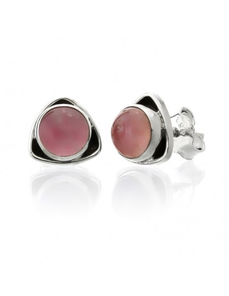 Pendientes mini de plata con cuarzo rosa. Joyas de plata.